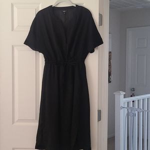 Mossimo Black Sheer Midi Dress with Attached Slip